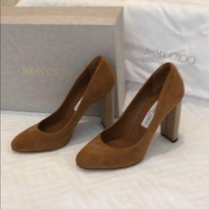 Jimmy Choo brown suede and wood heels